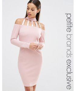 NaaNaa Petite   Облегающее Платье С Открытыми Плечами И Решетчатой Отделкой
