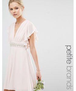 TFNC Petite | Платье Мини С Отделкой На Талии И Рукавами-Клеш Wedding