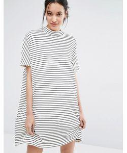 Just Female | Платье В Полоску С Короткими Рукавами Nora Белый