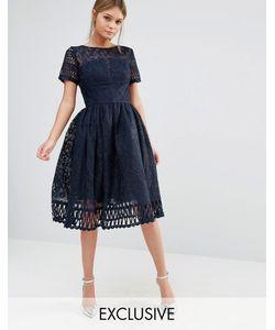 Chi Chi London | Кружевное Платье С Короткими Рукавами Premium Темно-Синий