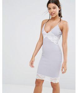 MISSGUIDED   Платье На Бретельках С Контрастным Кружевом Серый