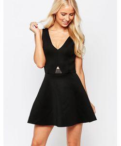 AX Paris | Короткое Приталенное Платье С Золотистой Пластиной Черный