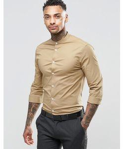 Asos | Темно-Песочная Рубашка С Воротником С Застежкой На Пуговицах Темный