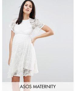 ASOS Maternity | Кружевное Приталенное Платье Для Беременных С Рукавами-Бабочка Кремовый