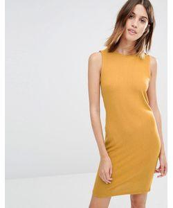 Vila | Трикотажное Платье С Драпировкой Охра