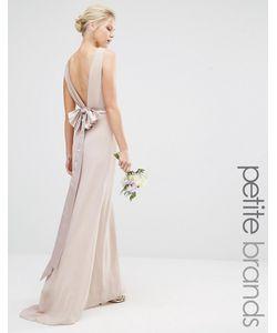 TFNC Petite | Свадебное Платье Макси С Сатиновым Бантом Сзади Whisper
