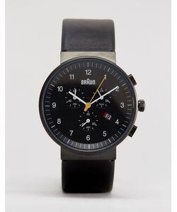 Braun | Черные Классические Часы С Хронографом И Кожаным Ремешком Черный