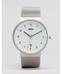 Braun | Классические Часы С Серебристым Сетчатым Ремешком Серебряный