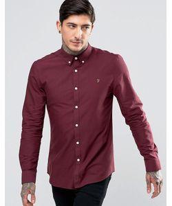 Farah | Бордовая Оксфордская Рубашка Узкого Кроя Bordeaux