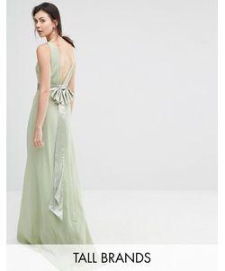 TFNC Tall | Платье Макси С Атласным Бантом Сзади Wedding Laurel