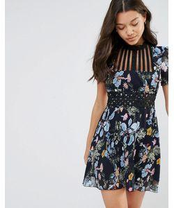 Foxiedox   Платье Мини С Высоким Воротом И Цветочным Принтом Juniper