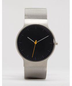 Braun | Классические Часы С Серебристым Сетчатым Ремешком И Черным Циферблатом