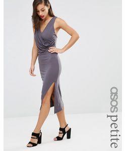 ASOS PETITE | Облегающее Платье Миди С Драпировкой И Перекрестной Отделкой Сзади