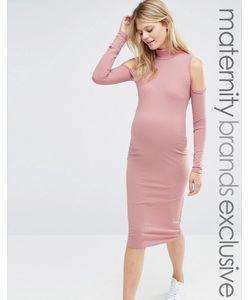 Club Lounge Maternity   Платье В Рубчик Для Беременных С Вырезами На Плечах Club L