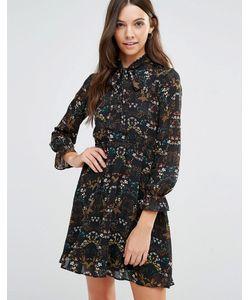 Yumi | Платье С Длинными Рукавами И Цветочным Принтом Черный