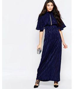 Liquorish | Платье Макси С Рукавами-Кимоно И Выжженным Принтом Темно-Синий С