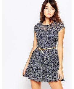 Mela Loves London | Короткое Приталенное Платье Из Блестящего Кружева Темно-Синий
