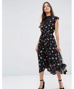 Asos | Чайное Платье Миди С Шифоновой Вставкой И Цветочным Принтом