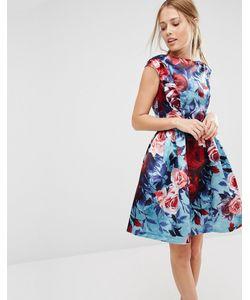 Closet London | Короткое Приталенное Платье Без Рукавов С Цветочным Принтом Closet Мульти