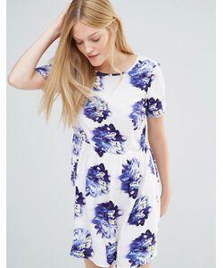 Vero Moda | Короткое Приталенное Платье С Цветочным Принтом Цветок Индиго