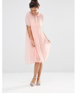The WhitePepper | Платье-Рубашка С Отливом Розовый