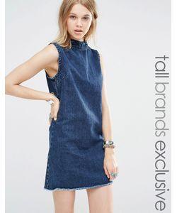 Glamorous Tall | Джинсовое Цельнокройное Платье Без Рукавов Синий
