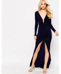 Sistaglam | Платье Макси Со Стразами На Планке И Разрезом Спереди Ruthie