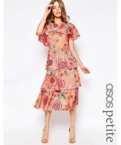 ASOS PETITE | Пастельное Платье Миди С Кейпом И Цветочным Принтом