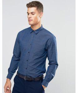 Silver Eight | Строгая Синяя Рубашка Добби Синий