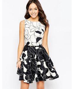 Closet | Короткое Приталенное Платье С Поясом И Контрастным Принтом