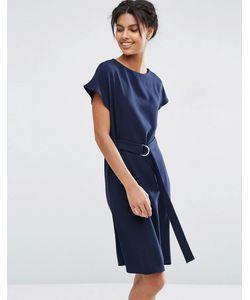Asos | Платье Миди С Поясом И Dобразной Пряжкой Темно-Синий
