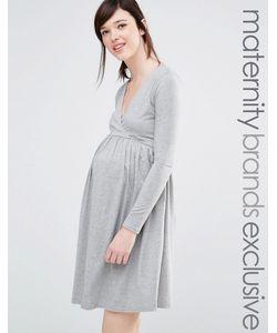 Club Lounge Maternity   Короткое Приталенное Платье Для Беременных Club L Lounge Maternity Серый