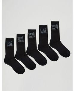 Ecko | 5 Пары Черных Спортивных Носков Черный