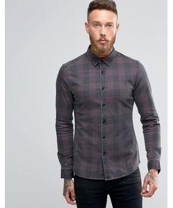 Asos | Бордовая Джинсовая Рубашка В Клетку С Длинными Рукавами Красный