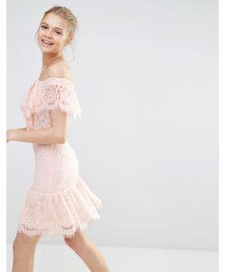 Endless Rose | Кружевное Платье С Открытыми Плечами Nude Pink