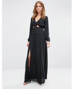Millie Mackintosh | Платье Макси С Завязками Спереди Черный