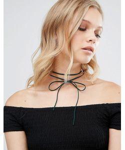 Regal Rose | Ожерелье-Чокер С Завязкой Gwen Vegan Сине-Зеленый