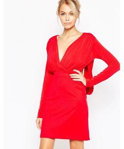 Hedonia | Платье С Глубоким Вырезом И Длинными Рукавами Gabby Красный