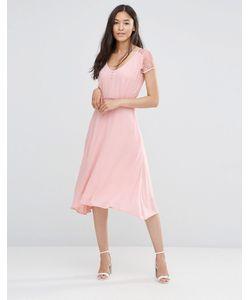 Soaked In Luxury | Розовое Платье С Кружевными Рукавами Телесно-Розовый