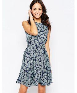 Closet | Синее Короткое Приталенное Платье С Принтом Листья