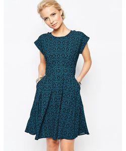 Closet   Платье С Цветочным Принтом И Расклешенной Юбкой Blu
