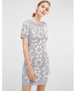 Frock and Frill | Бархатное Цельнокройное Платье Серый