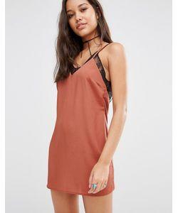 MISSGUIDED | Атласное Платье С Кружевной Отделкой Toffee