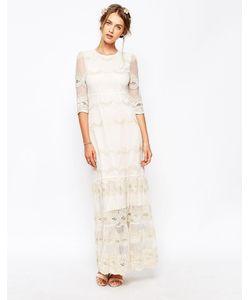 Soma London | Винтажное Платье Макси С Кружевом