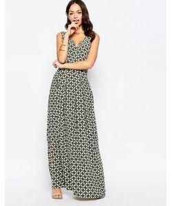 Closet   Платье Макси С V-Образным Вырезом И Геометрическим Принтом
