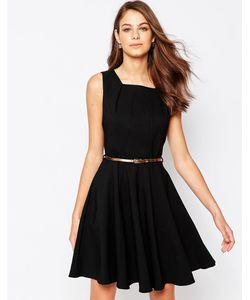 Closet | Короткое Приталенное Платье С Ремнем И Вставками