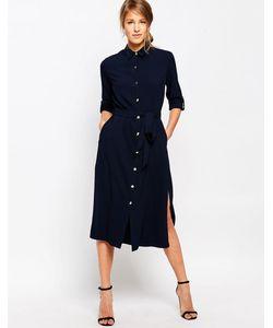 Closet   Длинное Платье-Рубашка С Поясом