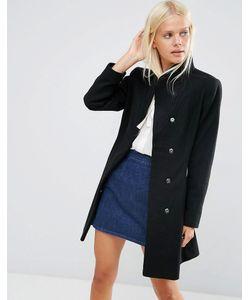 Asos | Короткое Расклешенное Пальто С Воротником-Трубой Черный