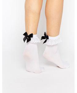 Leg Avenue | Кружевные Носки С Бантиками И Оборками