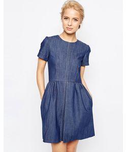 Closet   Джинсовое Платье Со Складками Спереди На Юбке